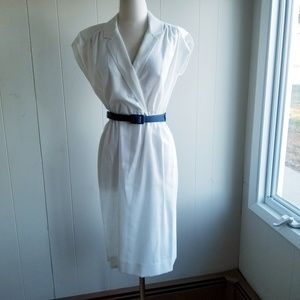 1970s Leslie Fay White White Linen Dress
